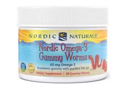 Nordic Omega-3 Gummy Worms - Omega 3 o smaku truskawkowym 63 mg (30 żelków)