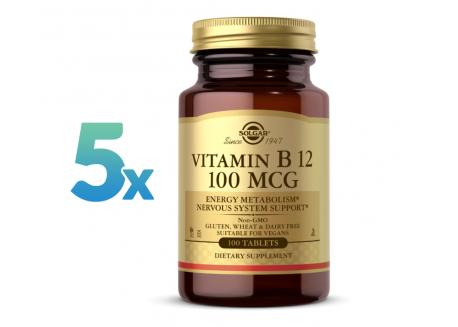 Zestaw 5 x Vitamin B12 100 mcg (100 tabl.)